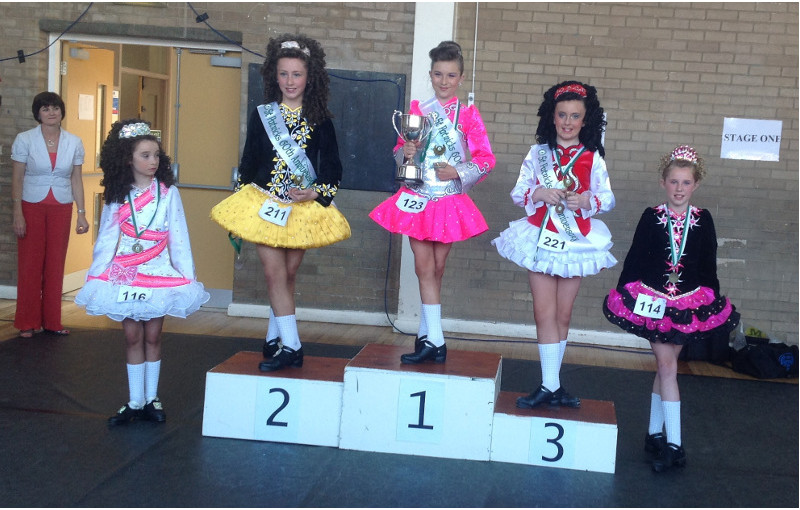 Niamh Edwards after her under 12 Prelim Championship win at the St Patricks Feis in June 2013